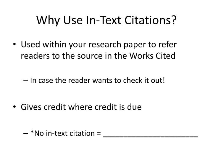 Why use in text citations