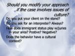 should you modify your approach if the case involves issues of culture