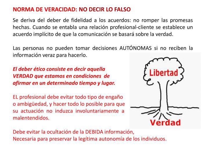 NORMA DE VERACIDAD: