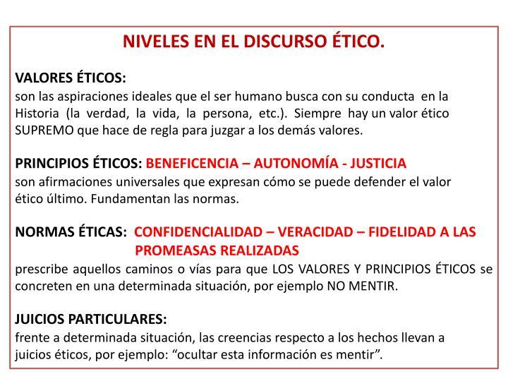 NIVELES EN EL DISCURSO ÉTICO.