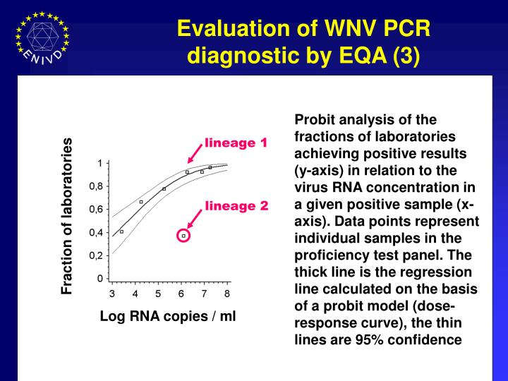 Probit analysis of the fractions of laboratories achieving positive results (y-axis) in relation to the virus RNA concentration in a given positive sample (x-axis). Data points represent individual samples in the proficiency test panel. The thick line is the regression line calculated on the basis of a probit model (dose-response curve), the thin lines are 95% confidence