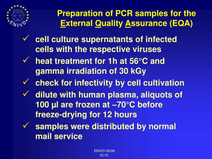 Preparation of PCR samples for the