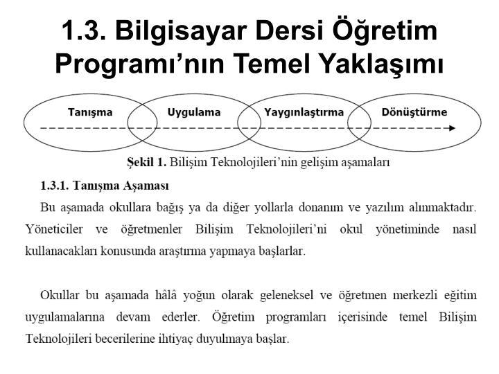 1.3. Bilgisayar Dersi Öğretim Programı'nın Temel Yaklaşımı