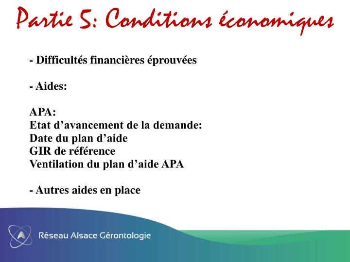 Partie 5: Conditions conomiques