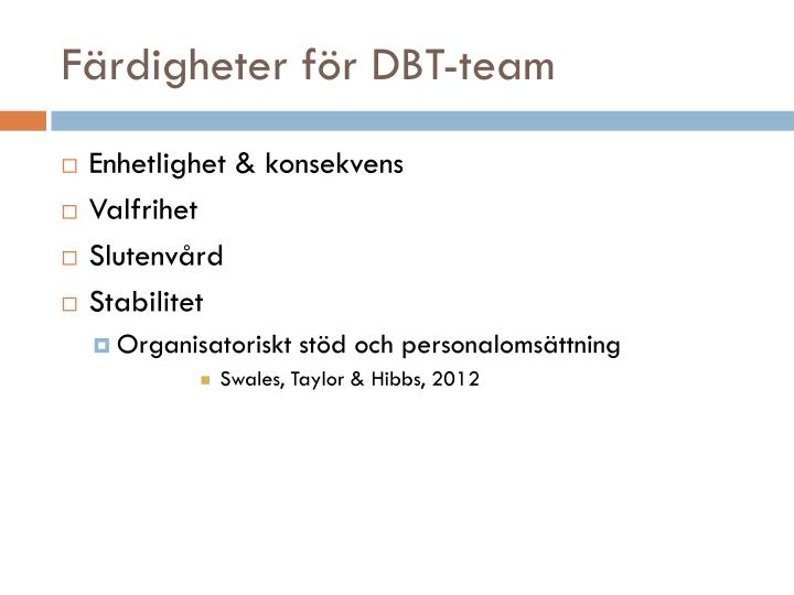 Färdigheter för DBT-team