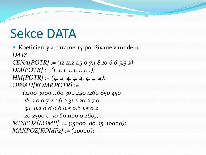 Sekce DATA