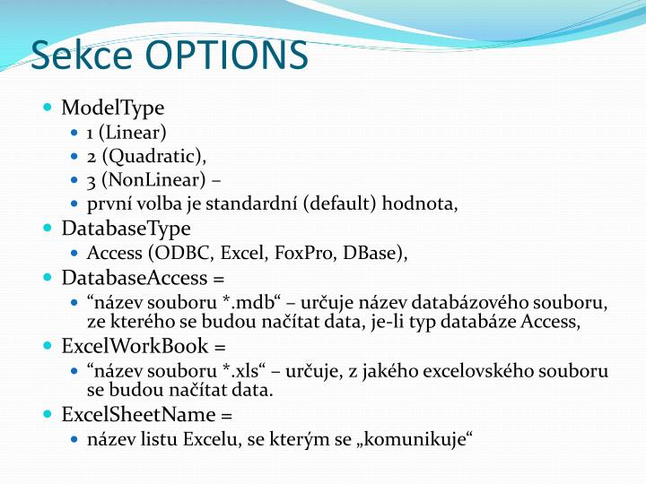 Sekce OPTIONS