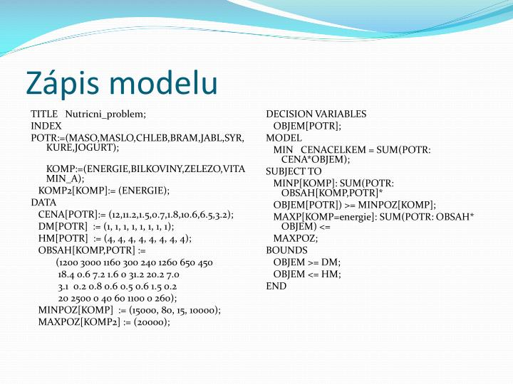 Zápis modelu