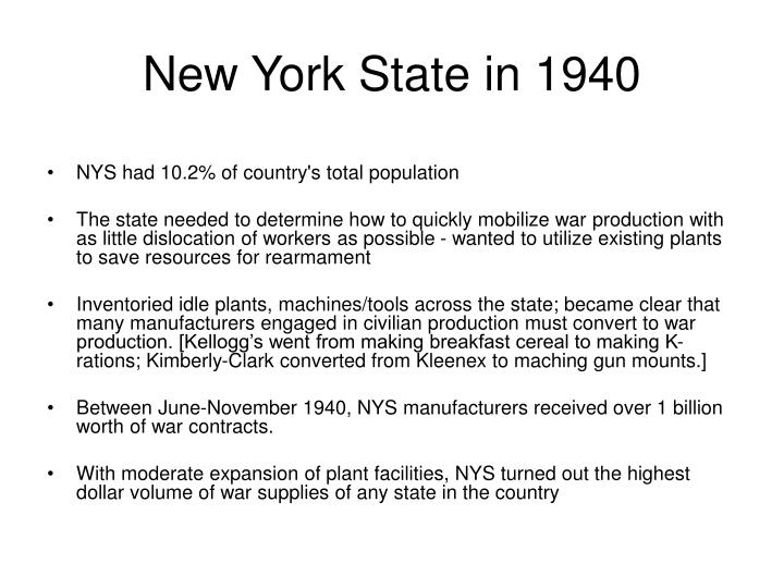 New york state in 1940