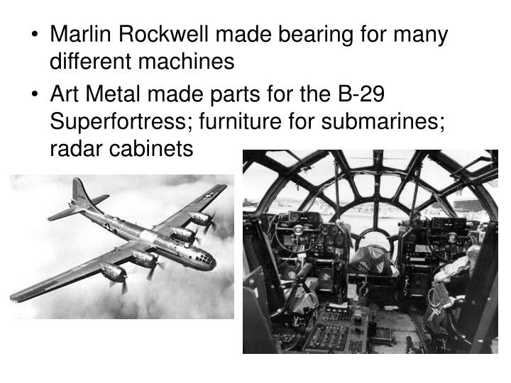 Marlin Rockwell made bearing for many different machines