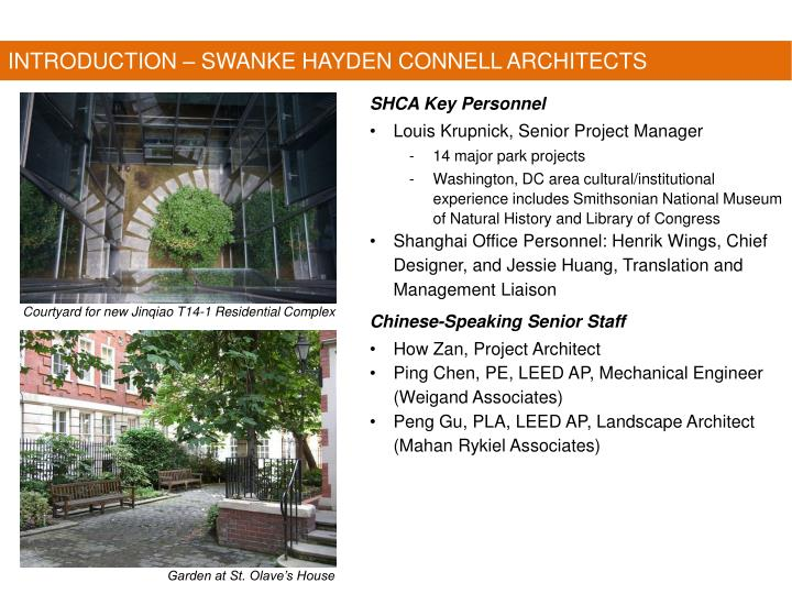 INTRODUCTION – SWANKE HAYDEN CONNELL ARCHITECTS
