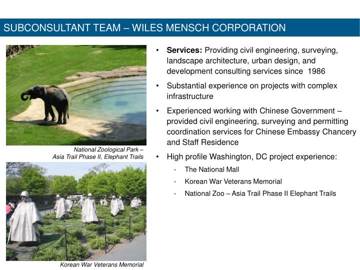SUBCONSULTANT TEAM – WILES MENSCH CORPORATION