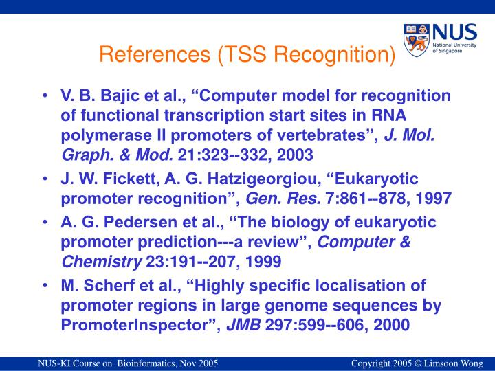 References (TSS Recognition)