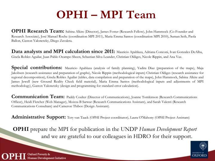 OPHI – MPI Team