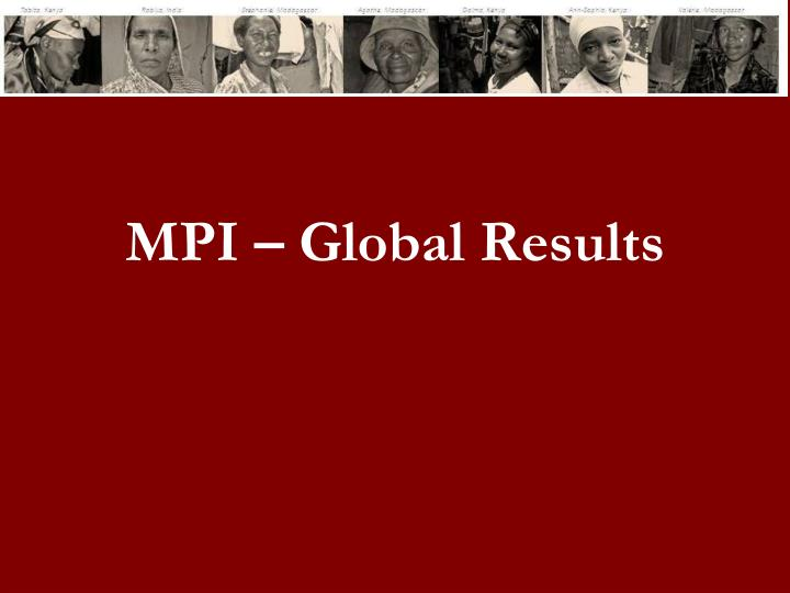 MPI – Global Results