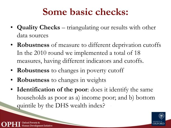 Some basic checks: