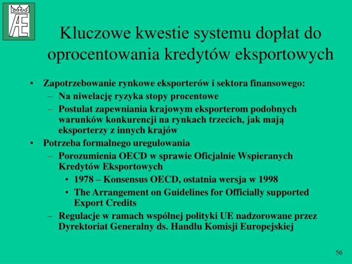 Kluczowe kwestie systemu dopłat do oprocentowania kredytów eksportowych