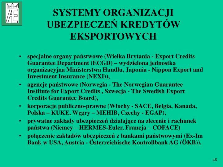 SYSTEMY ORGANIZACJI UBEZPIECZEŃ KREDYTÓW EKSPORTOWYCH