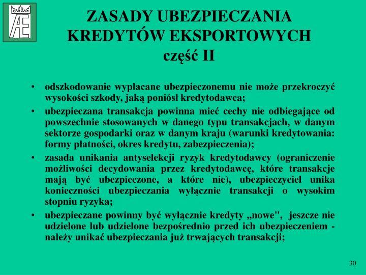 ZASADY UBEZPIECZANIA KREDYTÓW EKSPORTOWYCH
