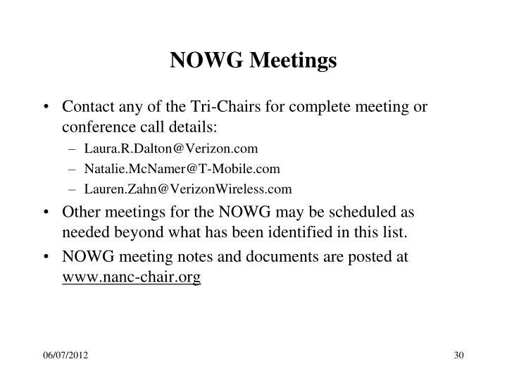 NOWG Meetings