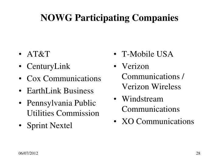 NOWG Participating Companies
