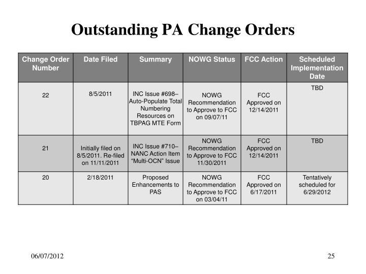 Outstanding PA Change Orders