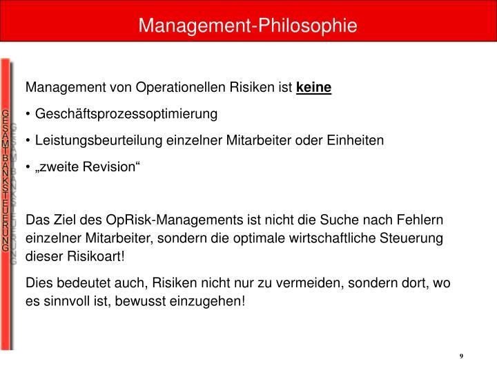 Management von Operationellen Risiken ist