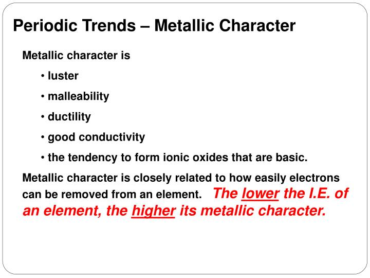 Periodic Trends – Metallic Character