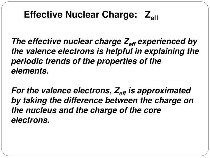 Effective Nuclear Charge:   Z