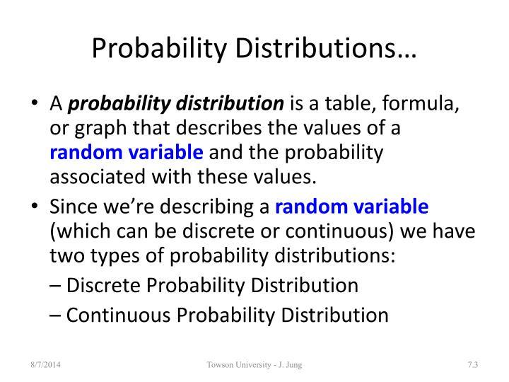 Probability Distributions…