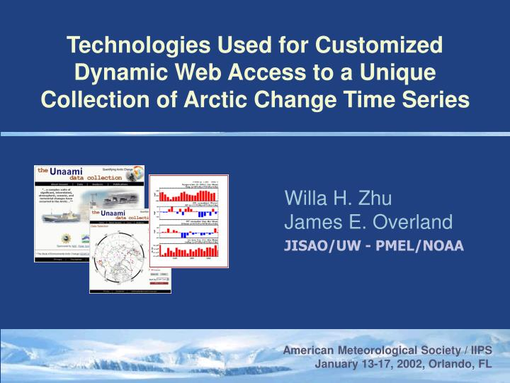 Technologies Used for Customized Dynamic Web Access to a Unique Collection of Arctic Change Time Series