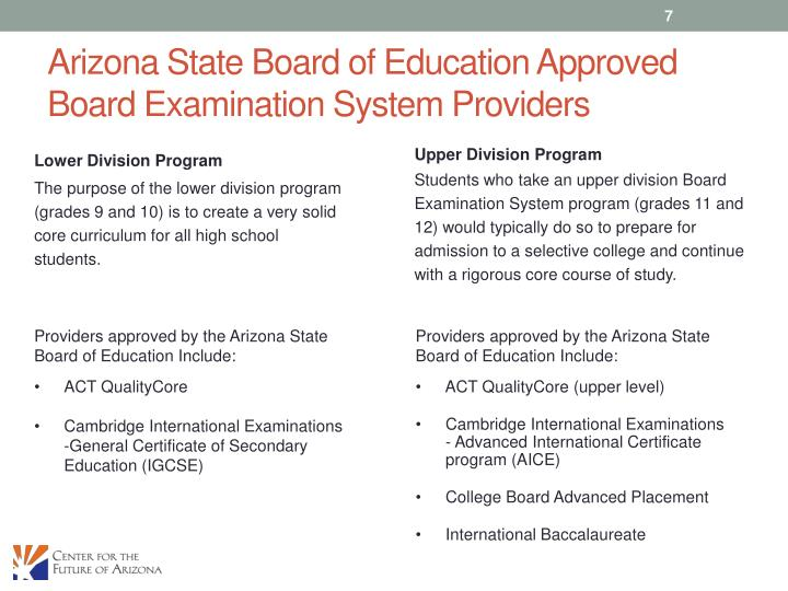 Arizona State Board of Education Approved Board Examination System Providers