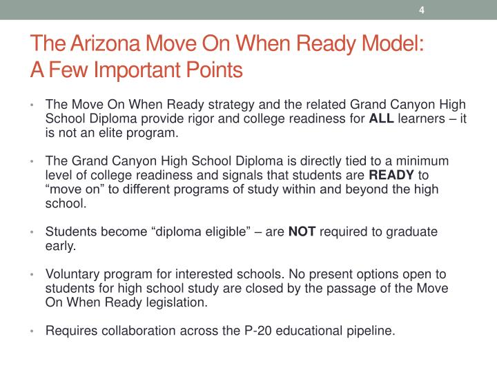 The Arizona Move On When Ready Model: