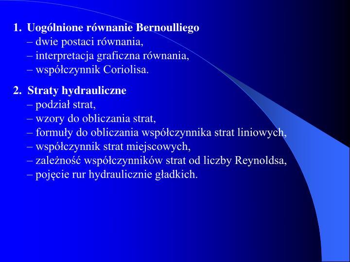 Uogólnione równanie Bernoulliego