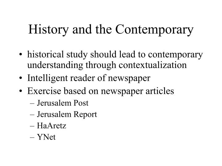 History and the Contemporary