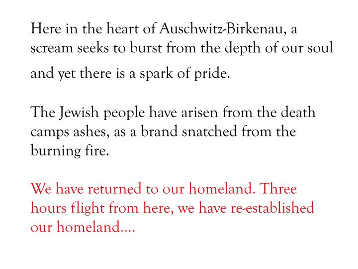 Here in the heart of Auschwitz-Birkenau, a scream seeks to burst from the depth of our soul and yet there is a spark of pride.