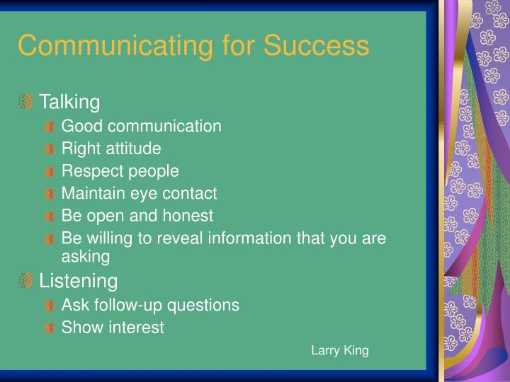 Communicating for success
