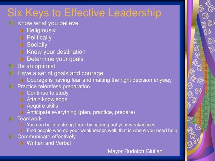 Six Keys to Effective Leadership