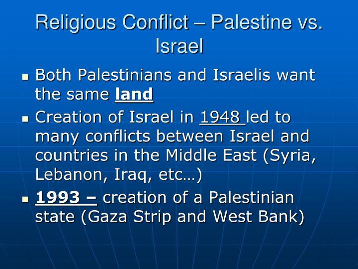 Religious Conflict – Palestine vs. Israel