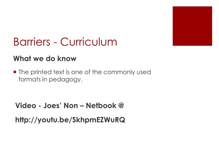 Barriers - Curriculum