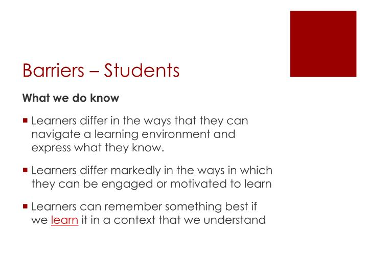 Barriers – Students