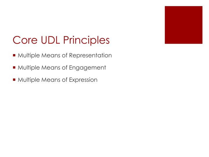 Core udl principles