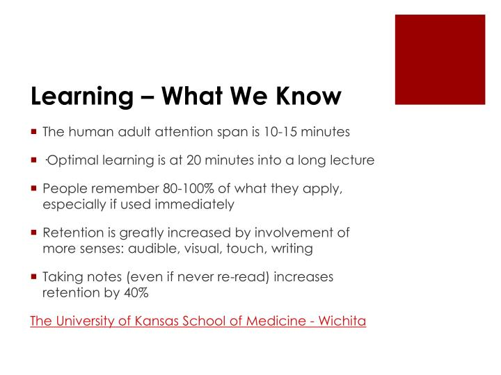 Learning – What We Know