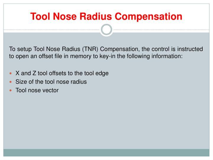 Tool Nose Radius Compensation
