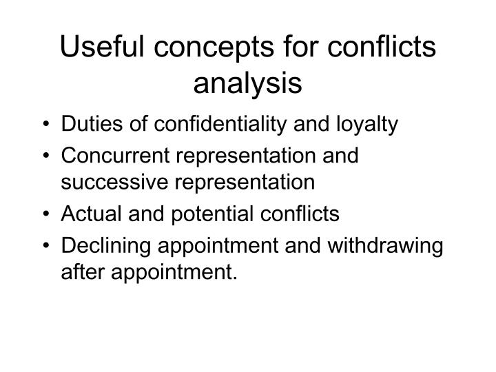 Useful concepts for conflicts analysis
