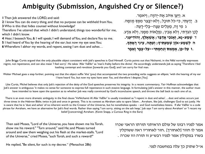 Ambiguity (Submission, Anguished Cry or Silence?)