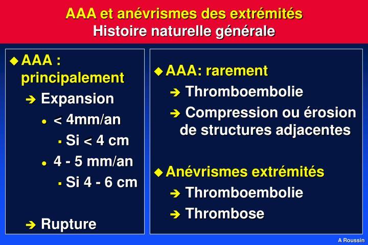AAA et anévrismes des extrémités