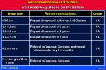 recommendations ccs 2005 aaa follow up based on initial size