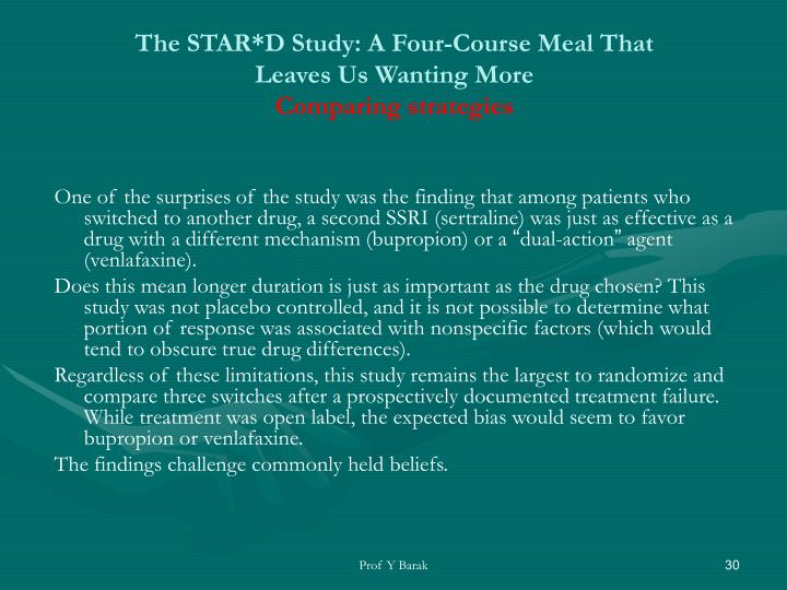 The STAR*D Study: A Four-Course Meal That