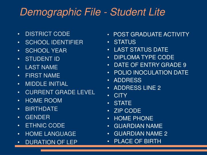 Demographic File - Student Lite